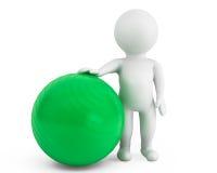 person 3d med pilatesövningsbollen Royaltyfri Fotografi