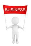 Person 3d mit Geschäfts-Plakat-Fahne in den Händen Wiedergabe 3d Lizenzfreie Stockbilder