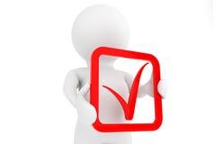Person 3d mit rotem positivem Symbol in den Händen Stockfoto