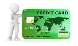 person 3d och gräsplankreditkort som isoleras på vit bakgrund Arkivbild