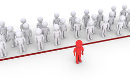 Person dares to cross the line. People are behind the line but one is in front Stock Photos