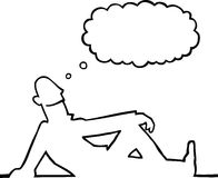 Person daydreaming. Black line art illustration of a person daydreaming Stock Photography
