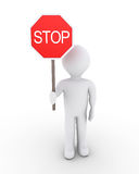 Person denies way. 3d person is holding a stop sign Royalty Free Stock Images