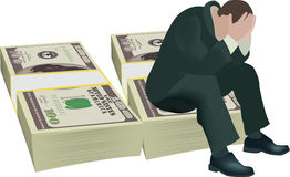 Person desperate gambling debt. Desperate person sitting dollars over bribes Stock Image