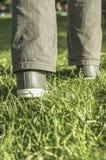 Person, die auf grünes Gras geht Stockfoto