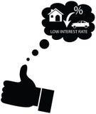 Person, die für Abnahme in den Zinssätzen träumt oder mag lizenzfreie abbildung
