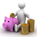 Person, die Geld in eine Münzkassette einsetzt. Stockbilder