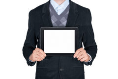 Person, die leere digitale Tablette zeigt lizenzfreie stockfotografie