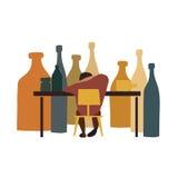 Person, die mit Flaschen sitzt Lizenzfreies Stockfoto