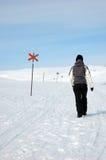 Person, die in Schnee geht Lizenzfreie Stockbilder