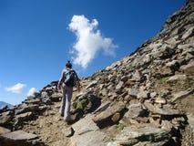 Person, die Trekking tut Stockfoto