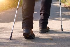 A person doing nordic walking in the nature closeup Stock Image