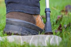 Person doing nordic walking shoe close up Stock Photos