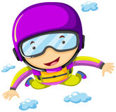 Person doing sky diving in the sky Stock Image