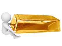 Person drag gold ingot Royalty Free Stock Image