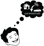 Person dreaming for decline in interest rates. Customer or Business man wishing and happy for a low interest rate on finance from bank on home mortgage, car Vector Illustration