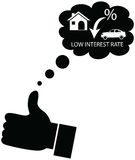Person dreaming or liking for decline in interest rates. Customer or Business man wishing and liking for a low interest rate on finance from bank on home Royalty Free Illustration