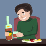 Person drinking alone vector cartoon Royalty Free Stock Images