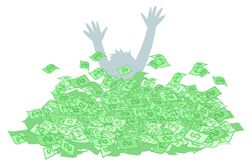 Person drown in money cash Royalty Free Stock Photo