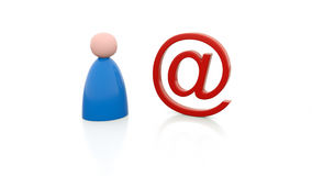 Person and e-mail sign. An illustration of a person with an E-mail sign Stock Photo