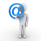 Person with e-mail symbol in his hand. 3d person holding an e-mail symbol in his hand Royalty Free Stock Photos