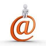 Person and e-mail symbol. Person is sitting on top of an e-mail symbol Royalty Free Stock Image