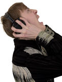 Person in ear-phones shouting Stock Photo