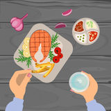 Person is eating Grilled fish. And french fries on wooden table. Top view Vector illustration eps 10 Royalty Free Stock Photo
