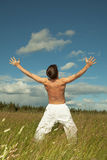 Person emotionally rejoices lives Royalty Free Stock Image