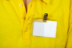 Person with Empty Badge Stock Photo