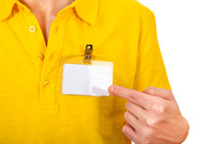 Person with Empty Badge Royalty Free Stock Photography