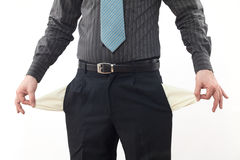Person with empty pockets. Bankrupt business person with empty pockets Royalty Free Stock Photography