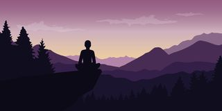 Person enjoy the silence at purple mountain nature landscape vector illustration