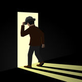 Person entering another room. From darkness to light Stock Photo