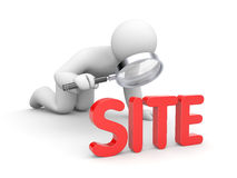 Person examines site stock illustration