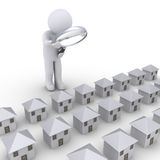 Person examining houses. 3d person with magnifier looking at many houses in a row Stock Photography