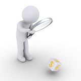 Person examining rolling dice. 3d person with magnifier looking at currency dice cube Royalty Free Stock Images