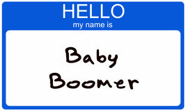 person född under en baby boomnametag Royaltyfri Bild