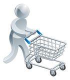 Person för shoppingspårvagnsilver Arkivbilder