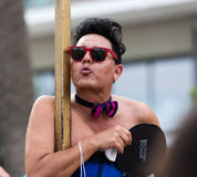 Person at f Gay pride parade in Sitges Royalty Free Stock Image