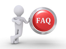 Person with FAQ button. 3d person is leaning on button with FAQ written on it Royalty Free Stock Images