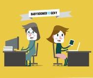 Person född under en baby boom VS utveckling y Affärspersonalresurs Royaltyfri Bild