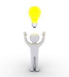 Person finds the answer. 3d person with light bulb over his head Royalty Free Stock Images
