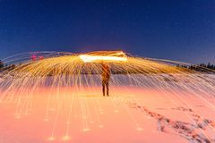 Person Fire Dancing in Time Lapse Photography Stock Photography