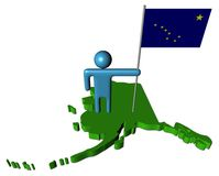Person with flag on Alaska map Royalty Free Stock Photo