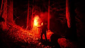 Person With Flare Walks Through The Woods stock video footage