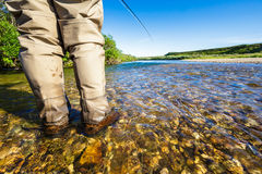 A person fly fishing on a river Royalty Free Stock Photo