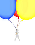 Person flying a balloons stock image