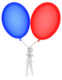 Person flying a balloons Royalty Free Stock Photo