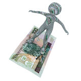 Person flying a banknote 100z� Stock Image